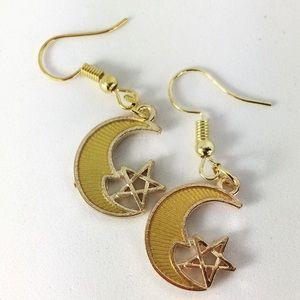 3/$15 Gold Tone Moon Earrings